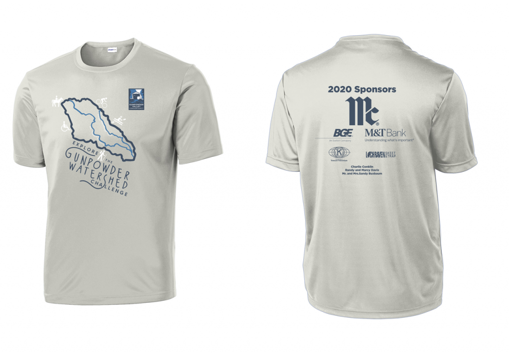 T-shirt design with a silhouette of the Gunpowder Watershed, stylized text 'Explore the Gunpowder Watershed Challenge', and icons of people doing outdoor activities, like hiking, paddling, and horseback riding.